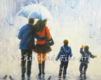 Rain Family Two Boys Art Print, mother and father, two sons, mom and dad, walking, rain, umbrella, loving family, painting, Vickie Wade