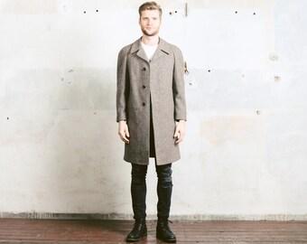 Men's Winter Tweed COAT . Wool Vintage 1970s Cocoon Coat Overcoat Raglan Sleeves Brown Winter Jacket . size Large L