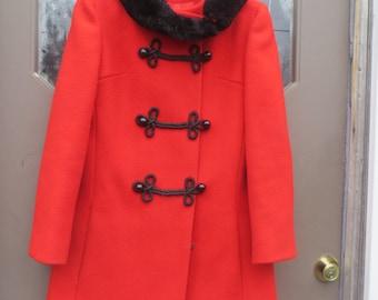 1960 fAB  Designer   RED WOOL black faux fur collar and trim princess style coat frog closures petite junior  Orignal  by Ruby  Martin