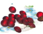 15 Vintage Rhinestones, Glass Garnet Color, Made in Western Germany Rare Cabs 8mm NOS. Red Frosted Ruby Rounds #1478B