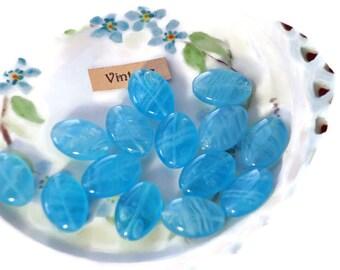 Vintage Glass Beads,Blue Lentil beads,Oval beads, Unique Unusual Flat Sapphire Druk Czech Republic Preciosa Traditional givre 16mm #1093