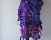 Nuno Felted scarf Blue Purple felt scarf Blue Purple stole Blue  nuno felted scarf Galaxy scarf Silk Wool shawl  felted shawl by Galafilc