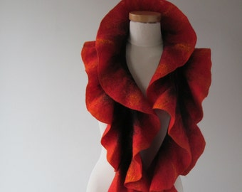 Felted ruffle scarf, Red felt  ruffle collar, Wool warm scarf, ruffle wool scarf Flame collar , Fire scarf,   Red and Black   gift under 50
