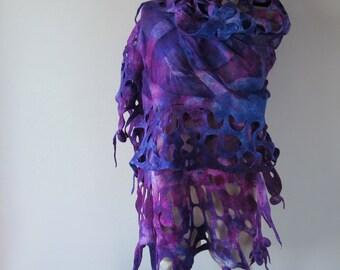 Nuno Felted scarf Blue Purple felt scarf Blue Purple stole Blue  nuno felted scarf Galaxy scarf Silk Wool shawl  felted shawl by Galafilc