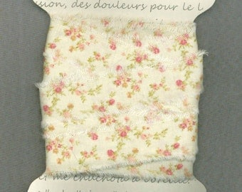 7  yards, Pink floral cream, cottage chic ribbon, .75 wide fabric ribbon, rustic prairie hand frayed ,gift wrap trim card making 1187 37