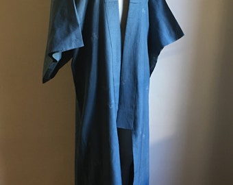 Vintage Japanese Blue Kimono Robe • Bohemian Robe • Boho Chic • Bath Robe • Hippie Chic