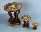 Side Table Kit With Printed Graphic Table Top 1:24 Scale