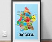 Brooklyn  Map Wall Art Print, Brooklyn City Neighborhood Map, Brooklyn Gift, Brooklyn Poster, Brooklyn Art Print, Brooklyn Print