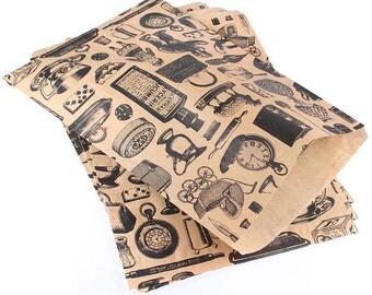 Medium Victorian Life Print Kraft Brown paper bags