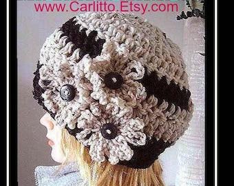 CROCHET hat  PATTERN  Hat, 30 minute hat crochet pattern,  CARLITTO adult hat, #112, crochet pattern hat,  instant download