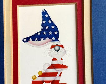 ReDuCeD! True Blue AMERICAN BUNNY print by Stewart Moskowitz Roller Skating Rabbit Patriotic Skate Matted Art Piece Wall Hanging 1970s