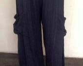 Reserved List For Eleanor - Take Me Home Pants...Hand Dyed Black Double Gauze Cotton Pants
