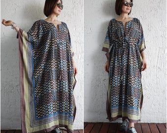 Multicolor Printed Light Cotton Kaftan Dress Poncho Dress Drawstring Empire Waist Women Tops Maxi Dress Can Fit Up To Size3X