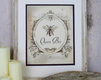Queen Bee Illustration Digital Art Instant Download Vintage French Honey Honeybee Printable Wall Art Home Decor Scrapbooking Adult Coloring