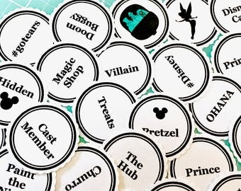 Disney Themed Word & Silhouette Labels - Disney planner supplies