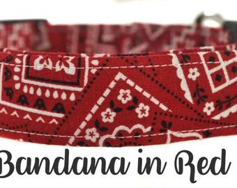 Red and White Bandana Dog Collar