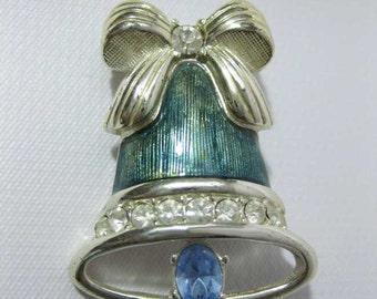Vintage Monet Enameled Rhinestone Silver Tone Bell Brooch Pin