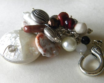 Elegant Red Marble, Pearl, mixed Cream Beads Purse Charm