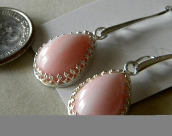Pink Marbled Stone Teardrop Cabochon Earrings