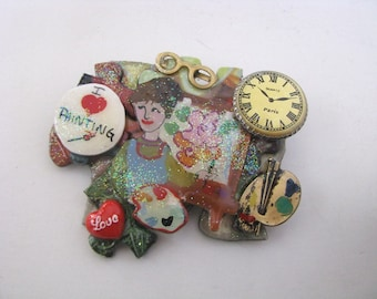Vintage Painter Artist layered puzzle piece pin brooch