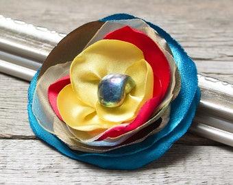 PIN button, Fabric Flower BROOCH Pin Petal Flower Pin Organza Satin handmade, handmade rosette, corsage, flower pin button