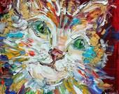 Original oil painting Cat portrait abstract palette knife impressionism on canvas fine art by Karen Tarlton
