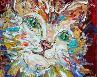 Original oil painting Cat portrait abstract palette knife impressionism on canvas fine art by Karen Tarlton