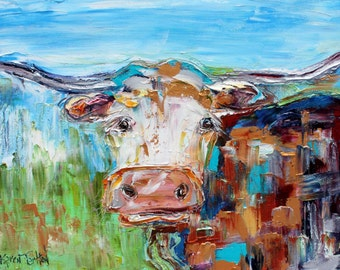 Texas Longhorn abstract painting original oil on canvas palette knife 12x16 impressionism fine art by Karen Tarlton