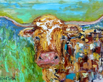 Longhorn abstract painting original oil on canvas palette knife 12x16 impressionism fine art by Karen Tarlton