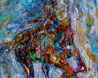 Wild Horse abstract painting original oil on canvas palette knife 12x16 impressionism fine art by Karen Tarlton