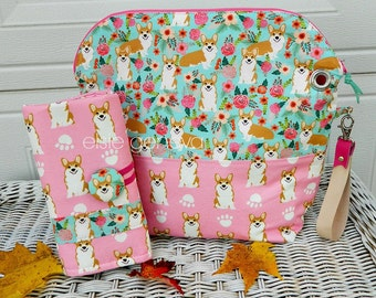 Corgi or Shelties Crochet Case Project Bag and Crochet Hook Case Combo Pouch Zipper Pink & Aqua Floral OR Choose Any Fabric in My Shop