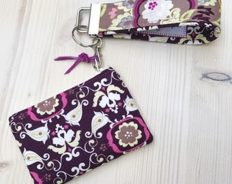 Wine Damask Coin Purse - Blue Tooth Case with Wristlet - Hot Pink Magenta Floral - Key Fob - Knitting or Crochet Stitch Markers Case