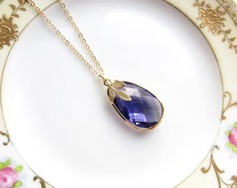 Amethyst Pear Pendant With Gold Leaf, Turquoise Necklace, Seafoam, Simple Necklace To Wear Everyday
