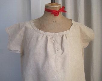 Unused antique French hemp chemise, nightie, night shirt, smock, dress, excellent condition, festival, boho chic