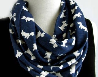 Blue and White Modern Loop Scarf - Blue and White Terrier Infinity Scarves - Cotton Knit Dog Lover Scarf