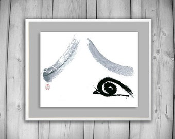 Zen Fine Art Snail Climbs Mount Fuji-Zen Painting, Basho haiku poem, Sumi e ink Original Zen Decor, japan tea ceremony illustration, taoist