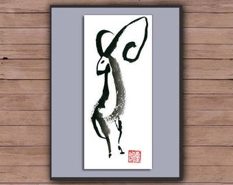 Ram for Year of the Sheep, Goat, Chinese New Year, Shengxiao, red evelope, Original Zen Sumi ink Painting, zen japan, zen decor, childrens