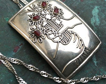 Vintage Love Always Finds A Way Sterling Hand Held Flower Pendant Necklace