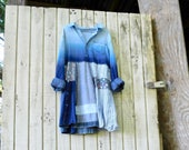 upcycled tunic, cotton Dress, romantic, Patchwork Dress, Funky, Eco, Blue, Summer Tunic, Denim, Stripe, Wearable Art, Fun Clothes
