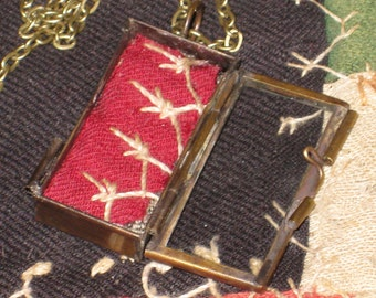 Antique Quilt Necklace Locket Memory Box Gift For Her Necklace With Gift Box