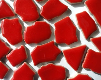 Cherry Red Ceramic Jigsaw Puzzles Mosaic Tiles//Mosaic Pieces//Mosaic Supplies//Jewelry//Craft