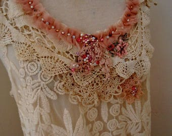 cream pink lace top blouse, boho beaded vintage lace trim blouse, romantic embroidered summer tank top, cream festival tunic