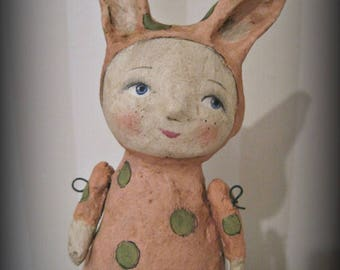 Rabbit girl - art doll- papier mache - OOAK doll- handmade art doll-  folk art
