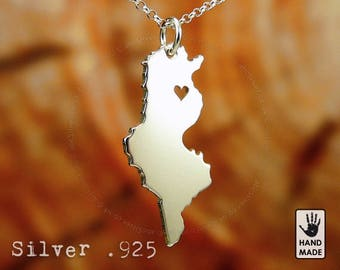 TUNISIA Map Handmade Personalized Sterling Silver .925 Necklace in a gift box