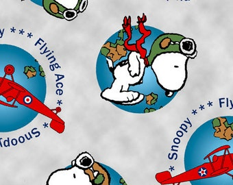 Snoopy Globe Toss in Gray Fabric from Quilting Treasures - You choose the cut