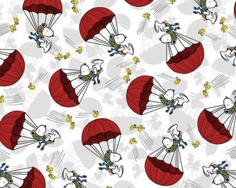 Snoopy Parachute Toss in Gray Fabric from Quilting Treasures - You choose the cut