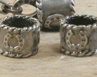 Antiqued .925 Sterling Silver Beads with Horseshoe Design