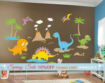 Dinosaurs Wall Decal, Dinos Wall Decal, HUGE Set, Dinosaurs Baby Nursery Kids Playroom Vinyl Wall Decal Wall Decor, Dinosaurs Wall Sticker