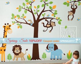 Jungle Tree Wall Decal, Jungle Animals Wall Decal, Safari Animals Wall Decal, Safari and Jungle Wall Sticker for Baby Nursery Decor
