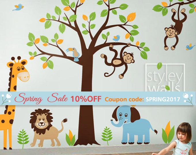 Jungle Tree Wall Decal, Jungle Animals Wall Decal, Safari Animals Wall Decal, Safari and Jungle Wall Sticker for Baby Nursery Decor